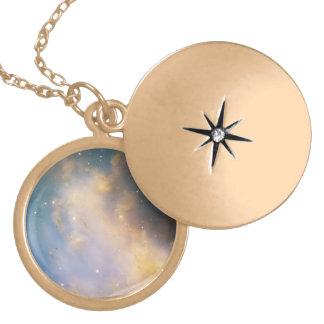 Close-Up of M27, the Dumbbell Nebula Round Locket Necklace
