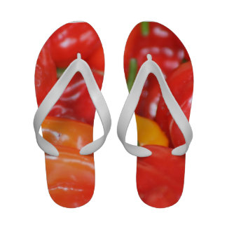 Close up of mainly red hot peppers sandals