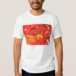 Close up of mainly red hot peppers tee shirt