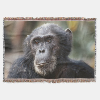 Close-up of male Chimpanzee Throw Blanket