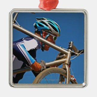 Close up of man cyclocross racing christmas ornament
