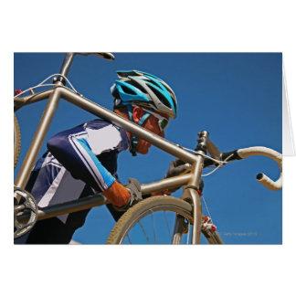 Close up of man cyclocross racing greeting card