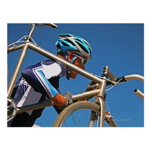 Close up of man cyclocross racing postcard