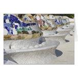 Close-up of Mosaics on Gaudi Building, Parc Card