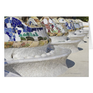 Close-up of Mosaics on Gaudi Building Parc Card