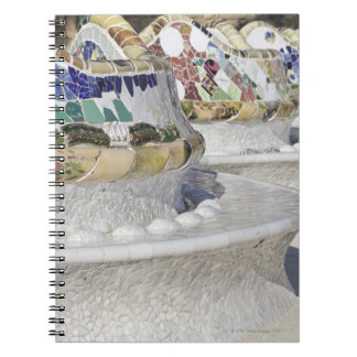 Close-up of Mosaics on Gaudi Building, Parc Spiral Notebook