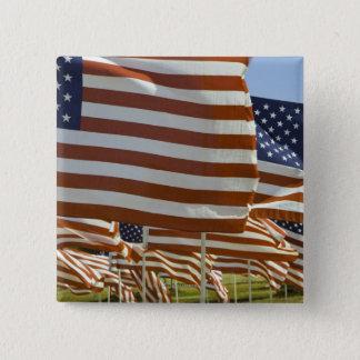 Close-Up of Multiple U.S. Flags 15 Cm Square Badge