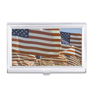 Close-Up of Multiple U.S. Flags Business Card Holder