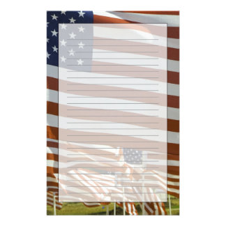 Close-Up of Multiple U.S. Flags Personalised Stationery