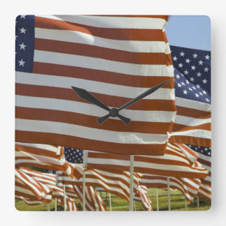 Close-Up of Multiple U.S. Flags Square Wall Clock