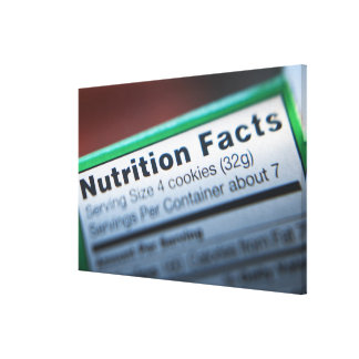 Close-up of nutrition information canvas print