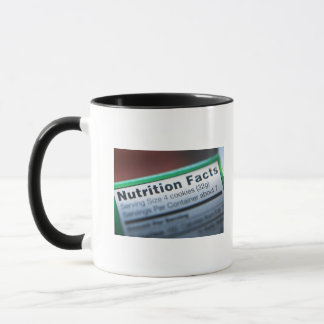 Close-up of nutrition information mug