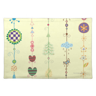 Close-up of ornaments placemat