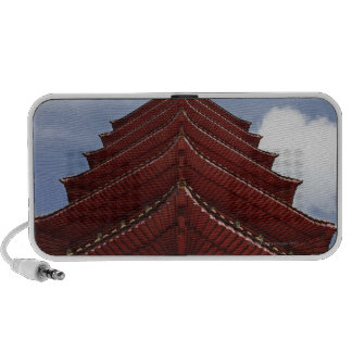 Close up of pagoda roof iPod speaker