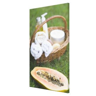 Close-up of papaya massage therapy treatment canvas print
