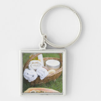 Close-up of papaya massage therapy treatment key ring