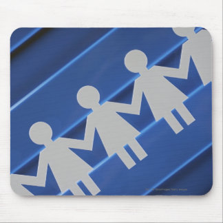 Close-up of paper chain dolls mouse mat