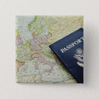 Close-up of passport lying on European map 15 Cm Square Badge