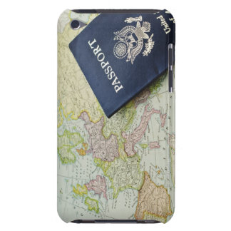 Close-up of passport lying on European map Barely There iPod Case