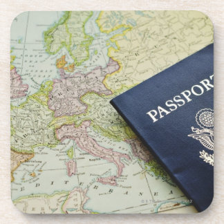 Close-up of passport lying on European map Coaster