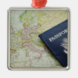 Close-up of passport lying on European map Christmas Tree Ornament
