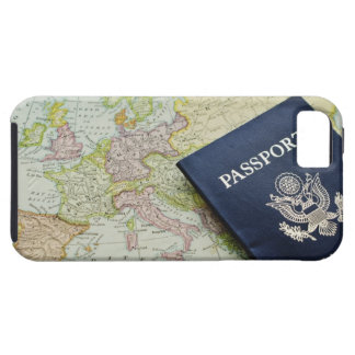 Close-up of passport lying on European map iPhone 5 Covers