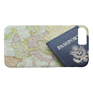 Close-up of passport lying on European map iPhone 8/7 Case