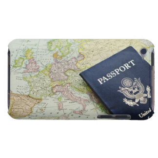 Close-up of passport lying on European map iPod Touch Case