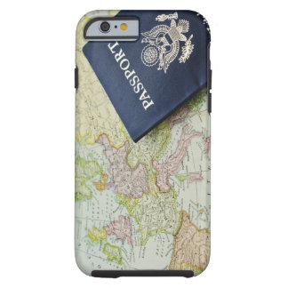 Close-up of passport lying on European map Tough iPhone 6 Case