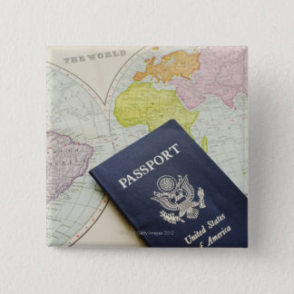 Close-up of passport lying on map 15 cm square badge