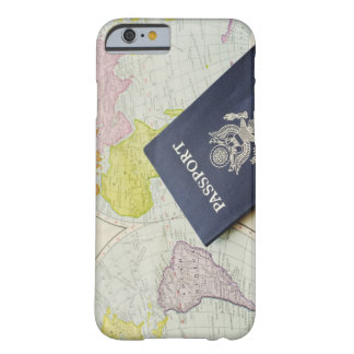 Close-up of passport lying on map barely there iPhone 6 case