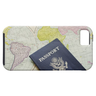 Close-up of passport lying on map case for the iPhone 5