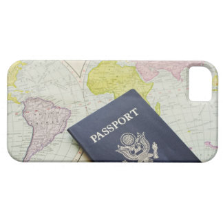 Close-up of passport lying on map iPhone 5 cover