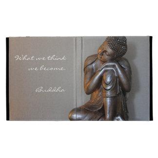 Close up of peaceful silver Buddha iPad Cases