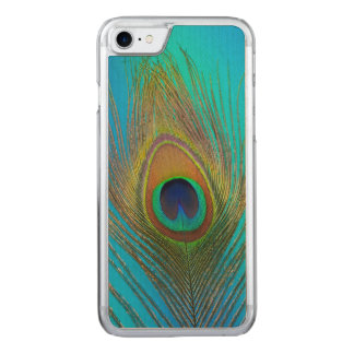 Close up of peacock feather carved iPhone 7 case
