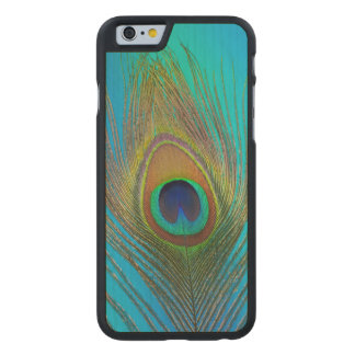 Close up of peacock feather carved® maple iPhone 6 slim case