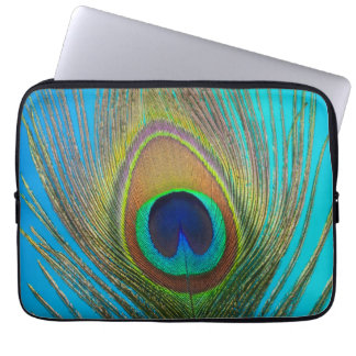 Close up of peacock feather laptop sleeve
