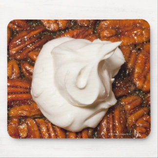 close up of pecan pie with whipped cream mouse mat