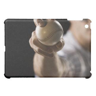 Close up of pitcher holding baseball iPad mini cover
