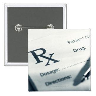 Close up of prescription pad and pen 15 cm square badge