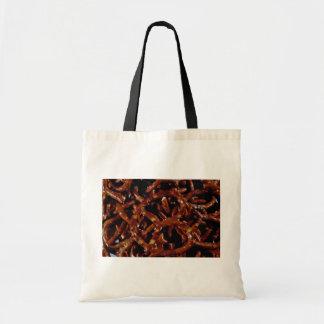 Close-up of pretzels tote bag