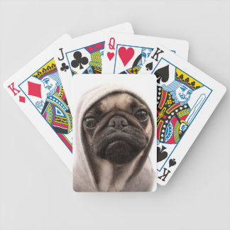 Close up of pug wearing hoodie. bicycle playing cards