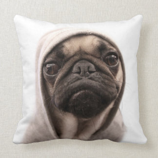 Close up of pug wearing hoodie. cushion