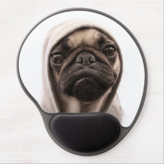 Close up of pug wearing hoodie. gel mouse mats