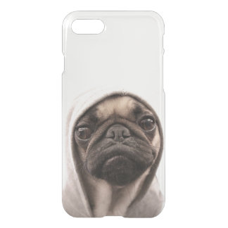 Close up of pug wearing hoodie. iPhone 8/7 case