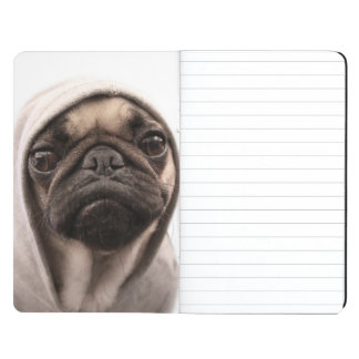 Close up of pug wearing hoodie. journal