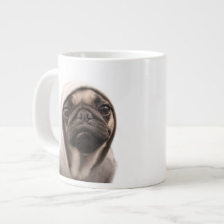 Close up of pug wearing hoodie. jumbo mug