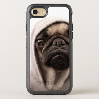 Close up of pug wearing hoodie. OtterBox symmetry iPhone 7 case