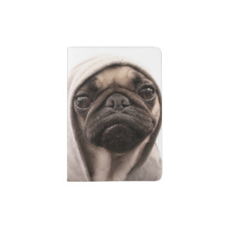 Close up of pug wearing hoodie. passport holder