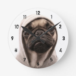 Close up of pug wearing hoodie. round clock